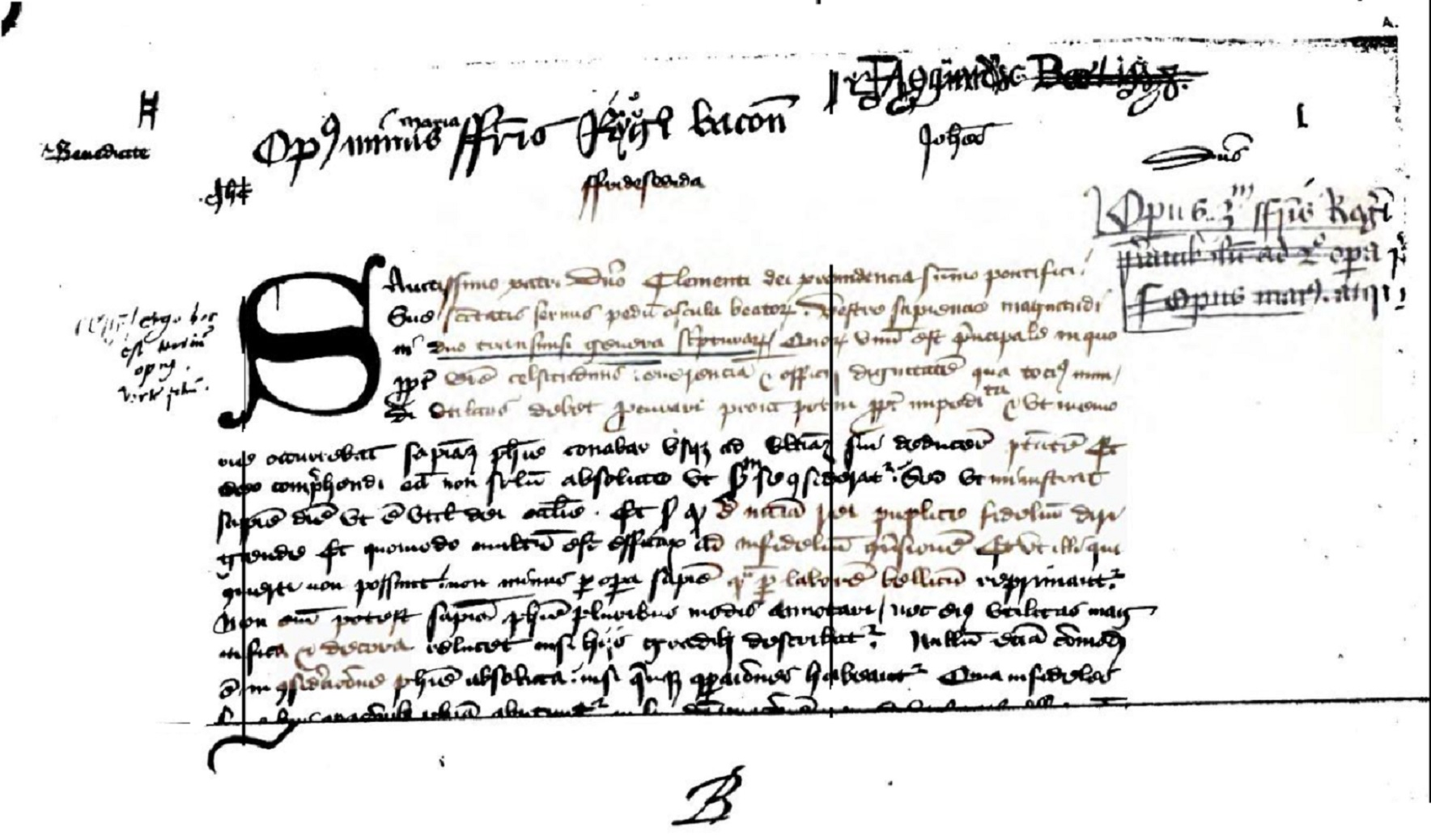 script Letter Roger Bacon to Pope Clement
