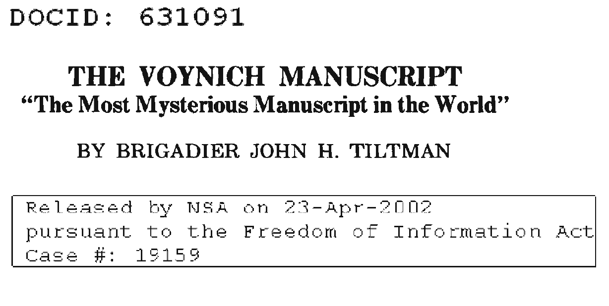 Tiltman paper released by NSA 2002