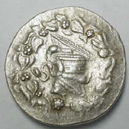 coin Lydia Tralleis 2ndC wheatlid obverse Byzantine style