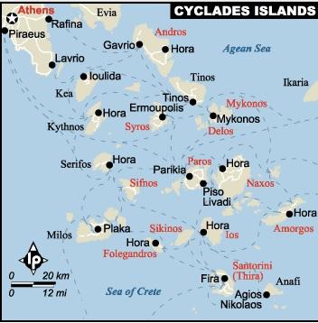 map Aegean Cyclades Hora